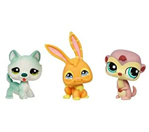 Hasbro Littlest Pet Shop Pack 3 Pet Shop 94562 - Set de 3 mascotas de juguete (perro Husky, mangosta, conejo)