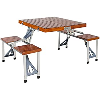 Awesome Best Choice Products Wood Folding Picnic Table With Carrying Case Seats 4