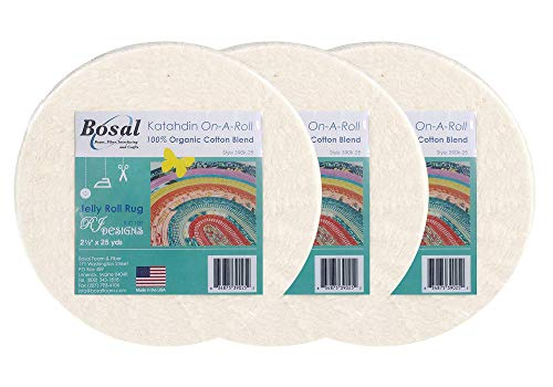 - Bosal Katahdin Batting On-A-Roll, Summer 3 oz, 2-1/2 inch by 25 yards, 100% Organic Cotton (1 Roll),Off-White