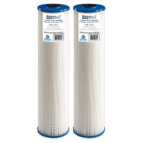 """2-Pack of Baleen Filters 20"""" x 4.5"""" 1 Micron Pleated Sedimen"""