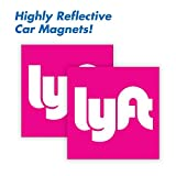 """Automotive : Wall26 Lyft Driver Magnet - Set of 2 - 5""""x5"""" - Durable Car Door/Bumper Magnet w/ Highly Reflective Vinyl - Sign for Uber and Rideshare Drivers"""