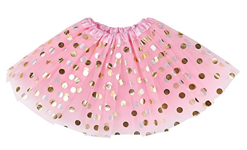Simplicity Girls 4 Layer Tulle Polka Dot Dress-up Princess Fairy Tutu Skirt,Pink ()