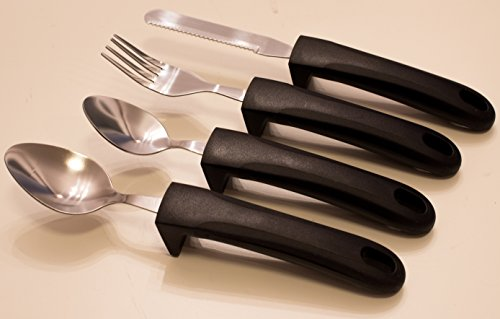 Adaptive Eating Utensils by CFOX   4pc Easy Grip Silverware Stainless Steel Knife, Fork, 2 Spoons for Parkinson's, Arthritis, Elderly, Hand Tremors Or ALS – (Black) Weighted Grips by Cfox (Image #7)