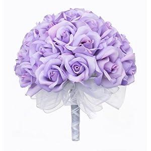 Lavender Silk Rose Hand Tie (36 Roses) - Bridal Wedding Bouquet 30