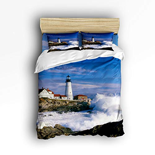 Cloud Dream Home 4 Piece Bedding Set,Lighthouse Beautiful City and Town Scenery Sea Wave Duvet Cover Set Quilt Bedspread for Childrens/Kids/Teens/Adults King Size(Extra Large)