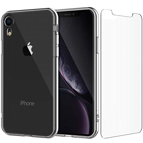 iPhone XR Clear Case, KINGMAS Flexible Soft Gel TPU Clear Case Designed for iPhone XR + 1 Glass Screen Protector