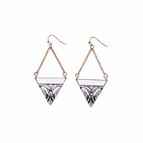 White Turquoise Triangle Rhinestone Pendant Gold Chain Hook Dangle Drop Earrings