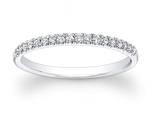 0.85 ct Brilliant Round Cut Wedding Promise Bridal Engagement Band In Solid 14K White Gold , Size 6 by Clara Pucci