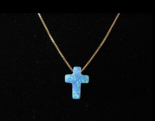 Blue Opal Cross Pendant Necklace on 14K Yellow Gold Chain