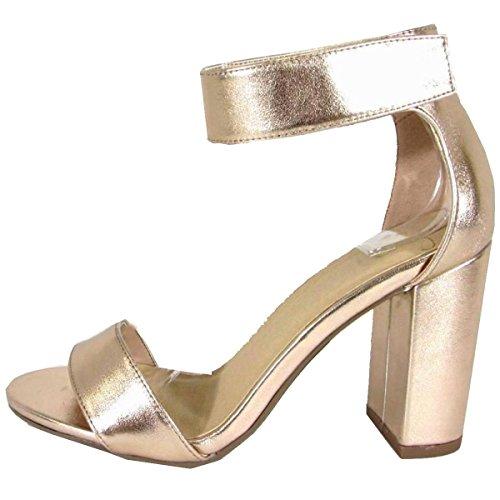 Squisita Donna Velcro Cinturino Alla Caviglia Piattaforma Pesante Con Tacco Sandalo Scuro Penny