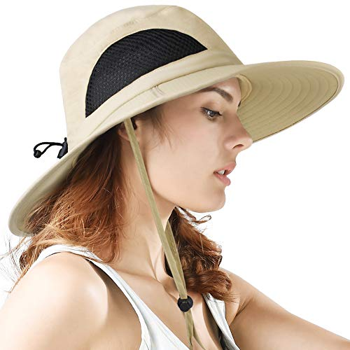 f82d1357eda Sun Hat Wide Brim Breathable Outdoor Boonie Hats for Men   Women Hiking