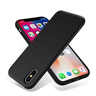 OTOFLY for iPhone X Case, [Silky and Soft Touch Series] Premium Soft Silicone Rubber Full-Body Protective Bumper Case Compatible with Apple iPhone X(ONLY) - Black