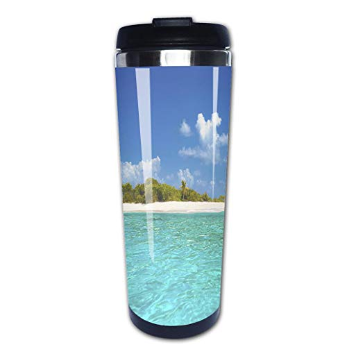 (Portable Stainless Steel Insulated Coffee Travel Cup Mug,Sandy Spit British Virgin Islands the Caribbeanleak-proof flip cover keeps hot or cold 13.6 oz (400)