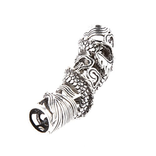 Baoblaze 6 Pieces Tibetan Silver Engraved Curve Tube Bead Lead for Making Jewelry Findings