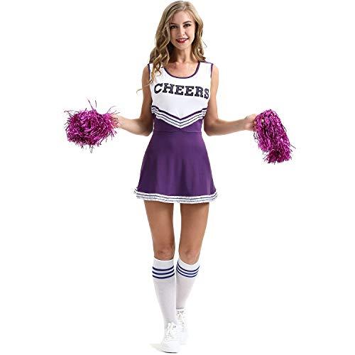 ZTie Women's School Girls Musical Party Halloween Cheerleader Costume Fancy Dress Uniform Outfit (S, Purple) ()