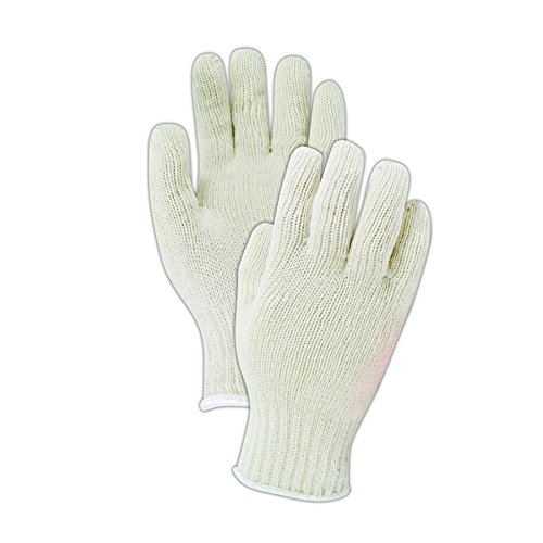 Magid Safety KnitMaster T1932 Gloves | 7-Gauge Ambidextrous Medium Weight Cotton/Polyester Blend Knit Gloves with an Insulated Liner - Large, White (12 (Standard Knit Glove)