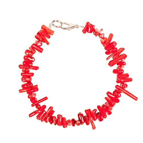 LONGTOU Fashion Pink White Red Natural Coral Layered Chain Bracelets