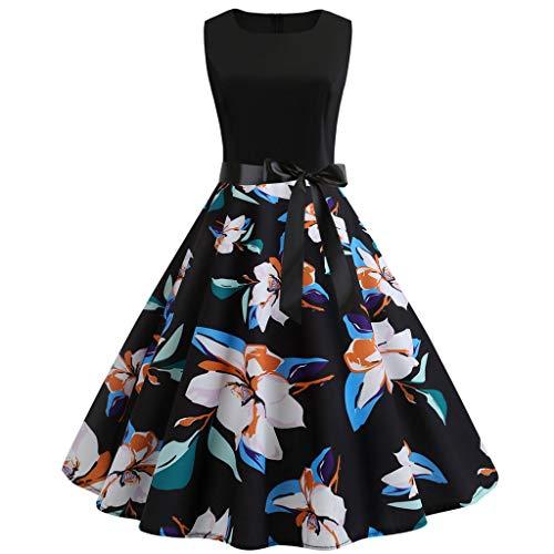 (TOTOD Summer Dress - Fashion Women's 1950s Vintage Boho Print Minidress Elegant Sleeveless Party Outfits)
