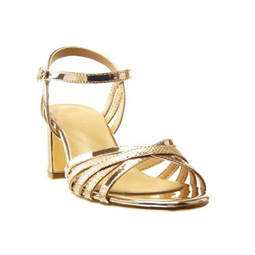 Angkorly - damen Schuhe Sandalen Mule - Schlangenhaut - String Tanga - Multi-Zaum Blockabsatz high heel 6 CM - Champagner
