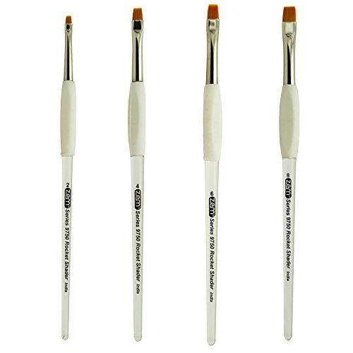 (ZEM BRUSH Rocket Gel Grip Ergonomic Handle Short Shader Artist Brush Set Sizes 2,4,6,8)