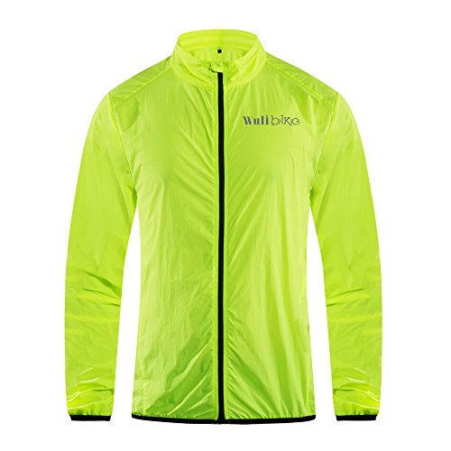 Lo.gas Ultra Lightweight Cycling Jacket Sports Anti UV, Packable, Breathable, Water Repellent, Safe Fluo Green