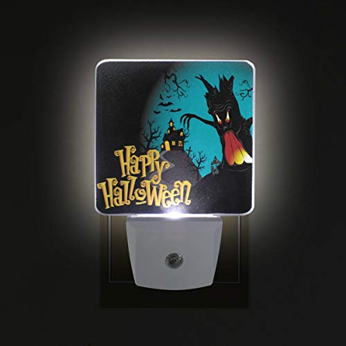 Jojogood Happy Halloween Background Plug in Dusk to Dawn Light Sensor LED Night Light Wall Light for Bedroom, Baby's Room,Hallway, Stairs, Energy Efficient (Pack of 2) ()