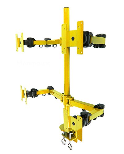 Quad LCD Monitor Stand Desk Clamp Holds Upto 4 27-Inch LCD Monitors, Yellow () - MonMount LCD-2020Y