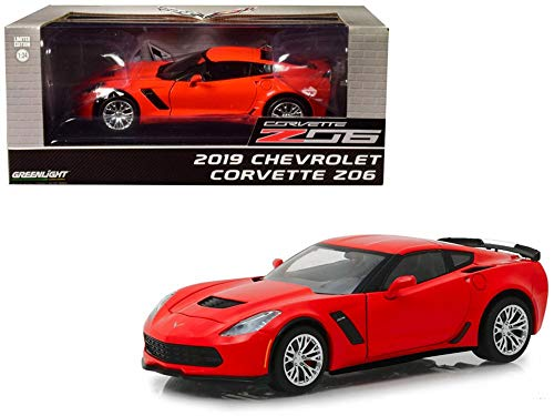 2019 Chevy Corvette Z06 Coupe, Torch Red - Greenlight 18251 - 1/24 Scale Diecast Model Toy Car ()