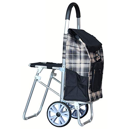Extra Large Bearing Wheel with Stool Oxford Cloth Shopping Cart Folding Aluminum Alloy Trolley Car Trolley Old Cart (Color : Black)