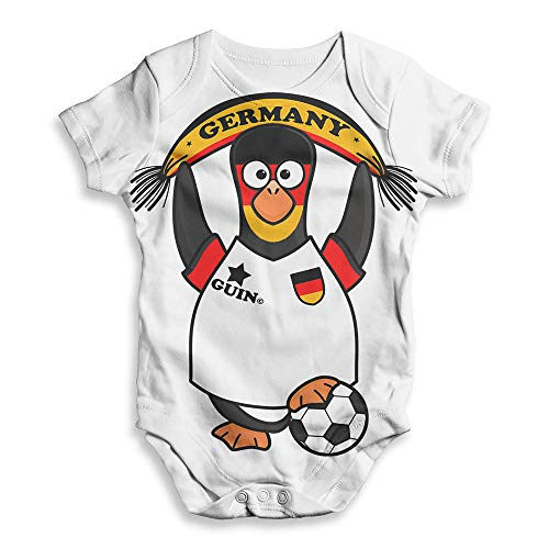 TWISTED ENVY Funny Baby Grow Onesie Germany Guin Penguin Soccer Fan White 3-6 Months