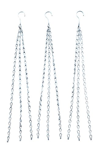24 Inch Hanging Flower Basket Galvanized Replacement Chain -3 Point Garden Plant Hanger (3 pk Heavy Weight-100 LB.) ()