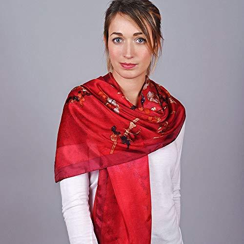 Soie Du Allée Foulard Rouge Bourgeons Etole 7AWfwqP