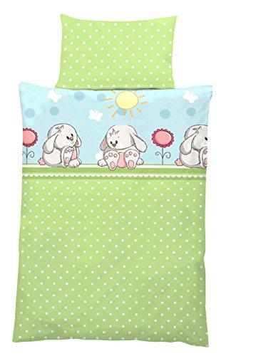 Baby-Bettwäsche aus Baumwolle HASE grün blau 100x135 + 40x60 cm