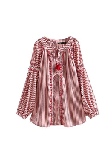 Stile Camicetta Allentate Tondo Fashion Summmer Rosa Colletto colore Medio Camicie Style A Righe Fuweiencore Magliette M Rosa Dimensione zRqwStc