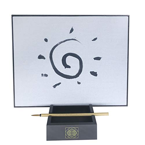 Samadhi Board: Water Drawing Set for Painting, Sketching & Meditation with Natural Wood Brush & Yogic -