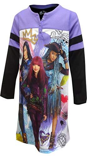 DESCENDANTS Disney Little/Big Girls Up to No Good Pajama Nightgown, Purple/Black, 8