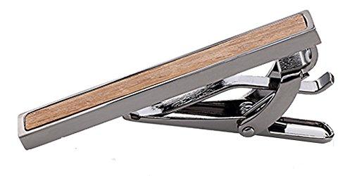 D&L Menswear Men's Black Rhodium Plated Tie Clip Wood Inlay