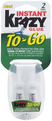 Instant Glue To-Go Two Single-Use Tubes, .017-Ounce - Krazy Glue KG58148INN