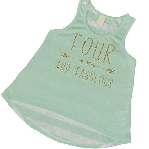 4th Birthday Tank Top, Girl 4th Birthday Outfit, Four and Fabulous (4T)