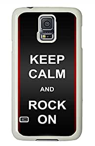 O Keep Calm Rock On PC White Hard Case Cover Skin For Samsung Galaxy S5 I9600