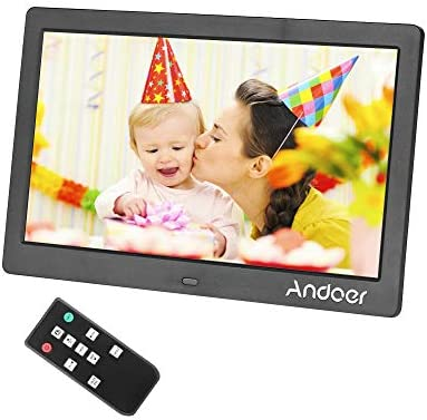 Andoer 10 Inch Digital Picture Photo Frame 16 9 IPS Screen Support Video, USB and SD Card Slots, Calendar, Background Music