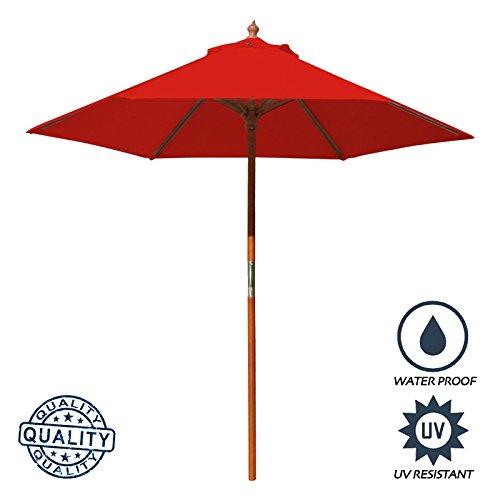 Above All Advertising, Inc. AAA Best 7 Feet Brolliz Round Wood Market Umbrella - Outdoor Garden Patio Umbrella (Red) 7 Wooden Market Umbrella