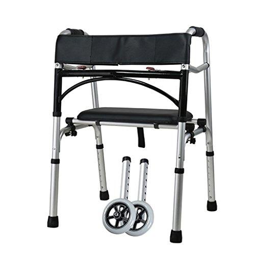 Caminantes estándar Andador de Cuatro pies de Aluminio con discapacidad andamio Bastidor multifunción cinturón de Ruedas...