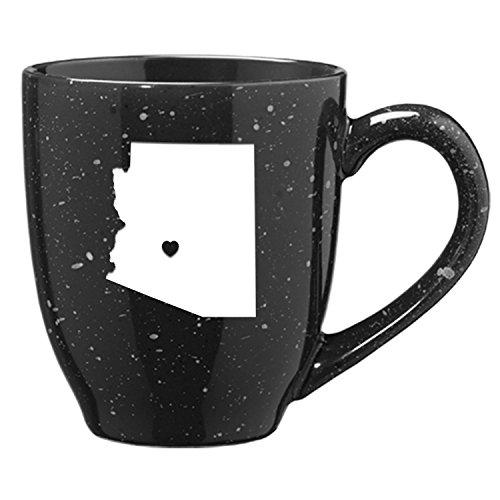 LXG, Inc. Arizona-State Outline-Heart -16 Ounce Ceramic Coffee Mug -Black -