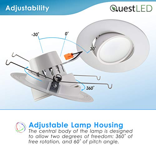 5/6'' inch LED Gimbal Adjustable Rotating Downlight White Trim 16.5W= (100w Equivalent) Damp Location Rated; 25,000 Life Hours; Dimmable to 5%; 5 YR Warranty; 1200 Lumens; Cool White 4000K- (16 Pack) by QUEST MANUFACTURING (Image #5)