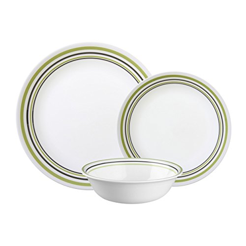 English Garden Salad Plate - Corelle Vitrelle Glass 12-Piece Garden Sketch Bands Dinner Set, Green/Grey