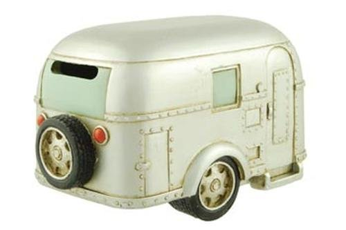 (Coin Bank, Silver Vintage Travel Trailer Camper RV Collectible, 6.5-inch)