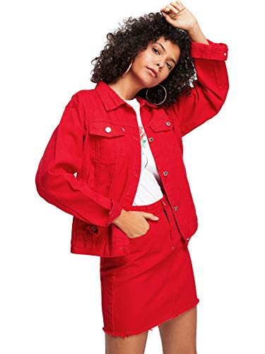 Floerns Women's Classic Button Up Denim Jean Jacket with Pockets Red XL