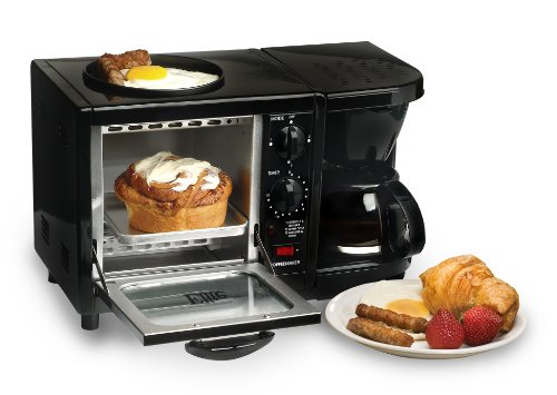 Elite Cuisine EBK-200B Maxi-Matic 3-in-1 Multifunction Breakfast Center, Black 1 Countertop