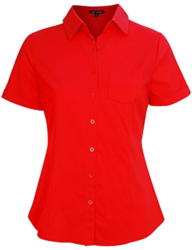(Michel Womens Slim Fit Button Down Shirt Basic Short Sleeve Blouse Shirts Large Red)